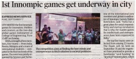 Mass Media about the !st Innompic Games 2017, Puna, India