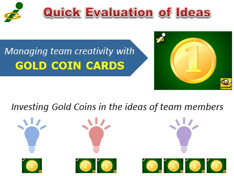 Gold Coin cards for managing team creativity, quick evaluation of ideas, Vadim Kotelnikov, Innompic Games, Innoball, Innovation Football