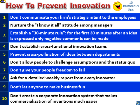 Innovation jokes, humorous advice, how to prevent innovation, funny wisdom, Vadim Kotelnikov