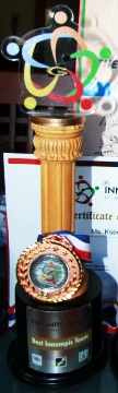 BEST INNOVAGTION TEAM - 1st Innompic Games award throphy, medal, Russian team, Russia