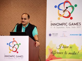 Rajendra Jagdale Chairman Organizing Committee 1st Innompic Games 2017 Pune India STP ISBA Bhau Institute