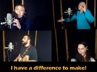 "Singers of Innompic song ""I Have a Difference to Make!"", Vadim Kotelnikov, Ksenia Kotelnikova, Magomed Gamzatov, Angelina Pokrovskaya"
