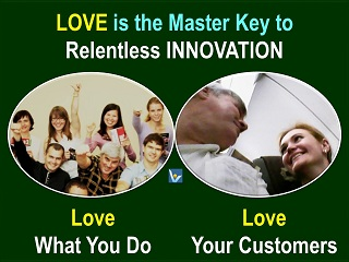 Innovation love quotes, love what you do. love your customers. Vadim Kotelnikov