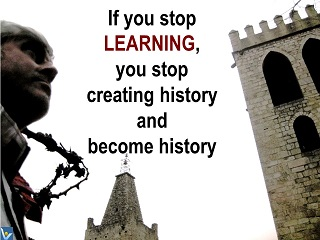 Vadim Kotelnikov Innompic message to the world, quote, if you stop learning you stop creating history and become history
