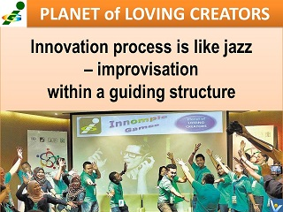 Innovation process is like jazz - improvisation within a guiding structure Vadim Kotelnikov quotes Innompic Planet of Loving Creators